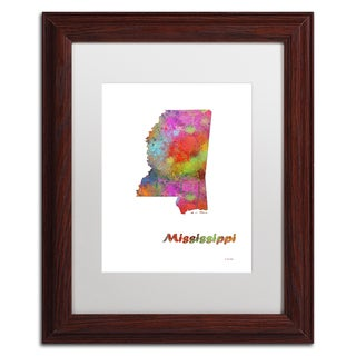 Marlene Watson 'Mississippi State Map-1' Matted Framed Art