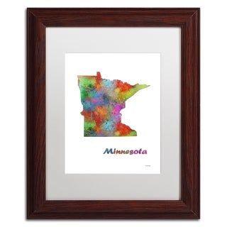Marlene Watson 'Minnesota State Map-1' Matted Framed Art