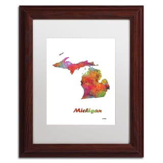 Marlene Watson 'Michigan State Map-1' Matted Framed Art
