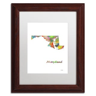 Marlene Watson 'Maryland State Map-1' Matted Framed Art