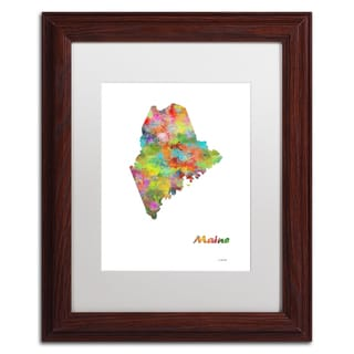 Marlene Watson 'Maine State Map-1' Matted Framed Art