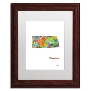 Marlene Watson 'Kansas State Map-1' Matted Framed Art