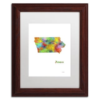 Marlene Watson 'Iowa State Map-1' Matted Framed Art