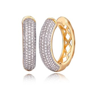 Gold and Crystal Notch Back Hoop Earrings - White