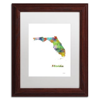 Marlene Watson 'Florida State Map-1' Matted Framed Art