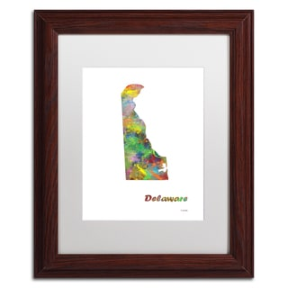 Marlene Watson 'Delaware State Map-1' Matted Framed Art