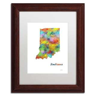 Marlene Watson 'Indiana State Map-1' Matted Framed Art