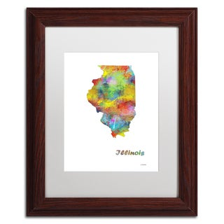 Marlene Watson 'Illinois State Map-1' Matted Framed Art