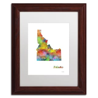 Marlene Watson 'Idaho State Map-1' Matted Framed Art