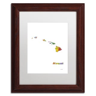 Marlene Watson 'Hawaii State Map-1' Matted Framed Art