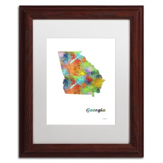 Marlene Watson 'Georgia State Map-1' Matted Framed Art