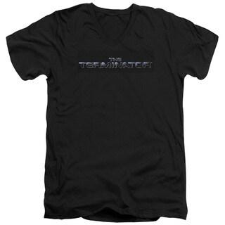 Terminator/Logo Short Sleeve Adult T-Shirt V-Neck 30/1 in Black