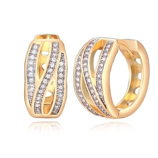 Yellow-gold Overlay Crystal Triple-row Wave Notch Back Earrings