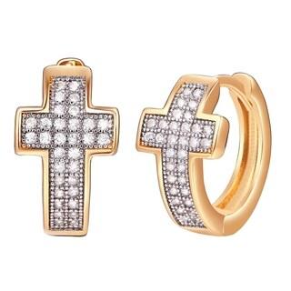 Peermont Jewelry 18k Gold-overlay Brass Crystal Cross Notch Back Earrings