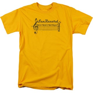 Sun Records/Music Staff Short Sleeve Adult T-Shirt 18/1 in Gold