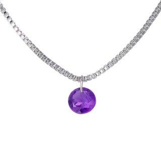14k White Gold Genuine Amethyst Pendant Necklace