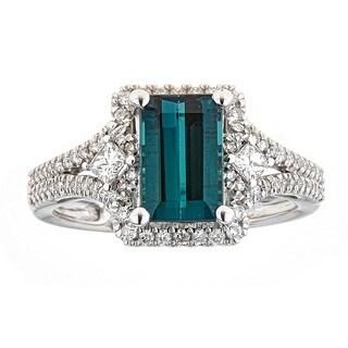 Anika and August 14K White Gold Indigo and Diamond Ring
