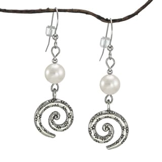 Jewelry by Dawn White Crystal Pearl Pewter Swirl Earrings