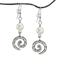 Handmade Jewelry by Dawn White Crystal Pearl Pewter Swirl Earrings (USA)