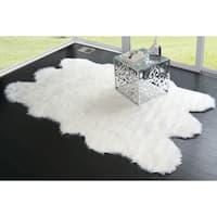 Ailsa White/Black Faux-sheepskin Area Rug - 5' x 8'