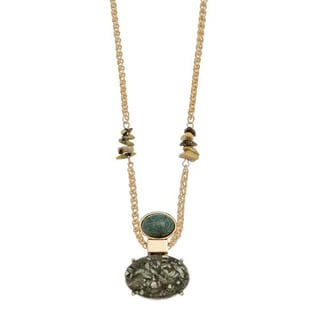 Jade Stone Pendant Gold Tone Necklace