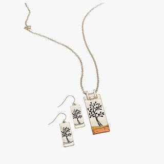 Tricolor Pewter, Silver, and Brass Pendant and Earrings Set