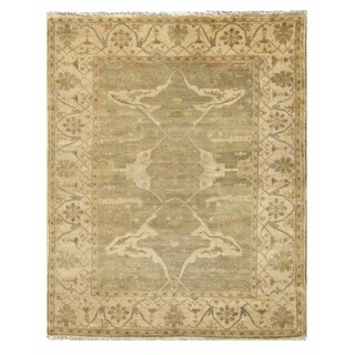 Exquisite Rugs Turkish Oushak Light Green / Ivory New Zealand Wool Rug (14' x 18') - 14' x 18'
