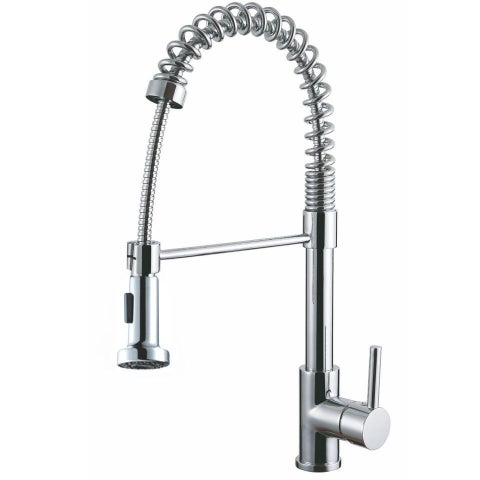 Y-Decor Luxurious Chrome Finished Single Handle Pull-out Kitchen Faucet - Chrome/Clear