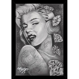 24-inch x 36-inch Marilyn Monroe Diamonds Print with Black Polystyrene Poster Frame