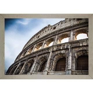 'The Colosseum' White Farmhouse Barnwood 24-inch x 36-inch Framed Print