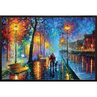 Leonid Afremov 'Melody of the Night' 24-inch x 36-inch Print with Walnut Architect Picture Frame