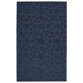 Trends Navy Geo Wool Rug (9'6 x 13'6)