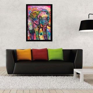 Dean Russo 'Elephant' 24-inch x 36-inch Print with Black Contemporary Poster Frame