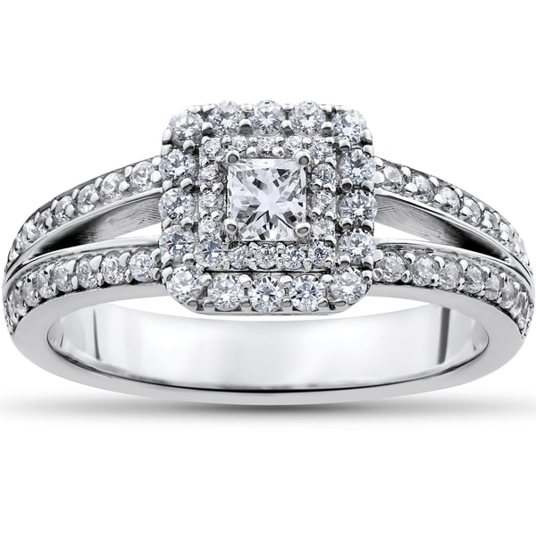 Shop 14k White Gold 1ct TDW Princess-cut Diamond Double ...