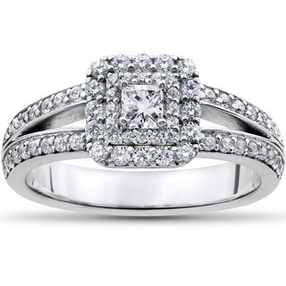 14k White Gold 1ct TDW Princess-cut Diamond Double Halo Engagement Ring