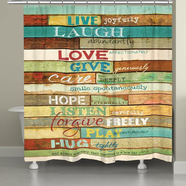 Shop Laural Home Live Laugh Love Inspirational Shower Curtain