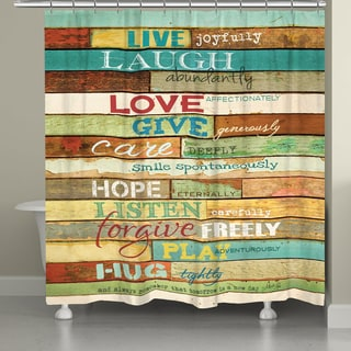 Laural Home Live Laugh Love Inspirational Shower Curtain