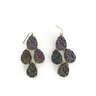 Pretty Little Style Gold Purple Druzy Chandelier Earrings