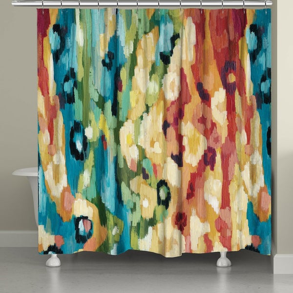 Laural Home Bright Abstract Ikat Pattern Shower Curtain