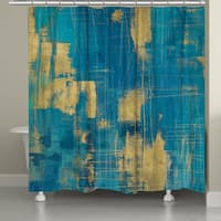 Laural Home Blue and Bronze Abstract Pattern Shower Curtain
