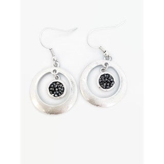 Pretty Little Style Silver Black Druzy Drop Earrings