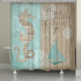 Beautiful Laural Home Coastal Boardwalk Shower Curtain   Free Shipping Today    Overstock.com   19317578