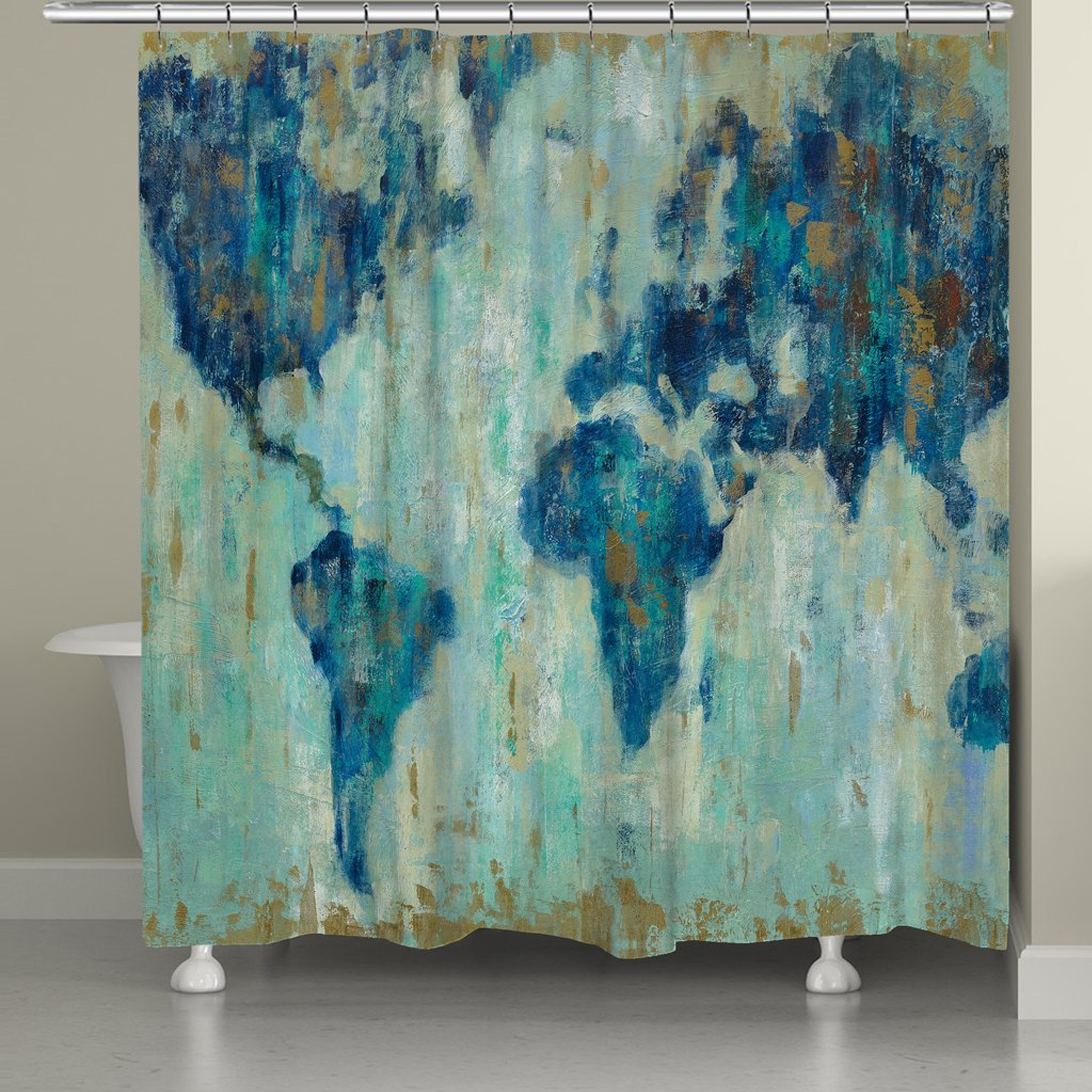 """Laural Home Abstract World Map Shower Curtain (71"""" x 74"""")..."""