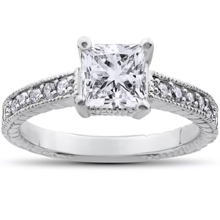 14k White Gold 1 1/4ct TDW Vintage Princess Cut Clarity Enhanced Diamond Ring (H-I, I1-I2)