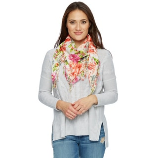 Handmade Bright Floral Fringe Square Scarf (India)