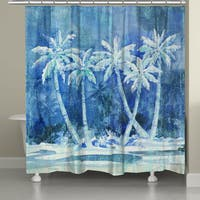 Laural Home Blue Palms Shower Curtain