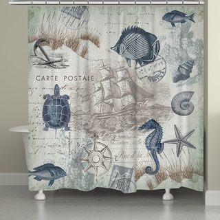 Laural Home Vintage Seaside Maritime Shower Curtain