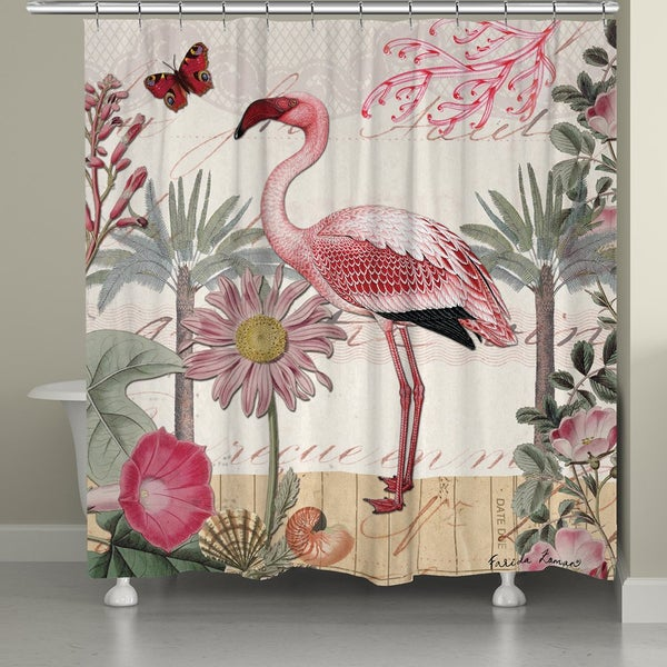 Laural Home Tropical Flamingo Shower Curtain