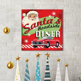 Jennifer Brinley 'Retro Diner Santa' Holiday Canvas Print Wall Art