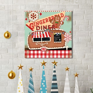 Jennifer Brinley 'Retro Diner Gingerbread' Holiday Canvas Print Wall Art